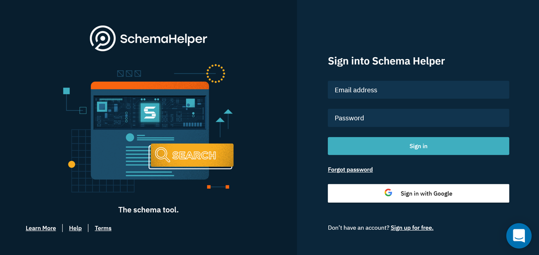 Schema Helper login page