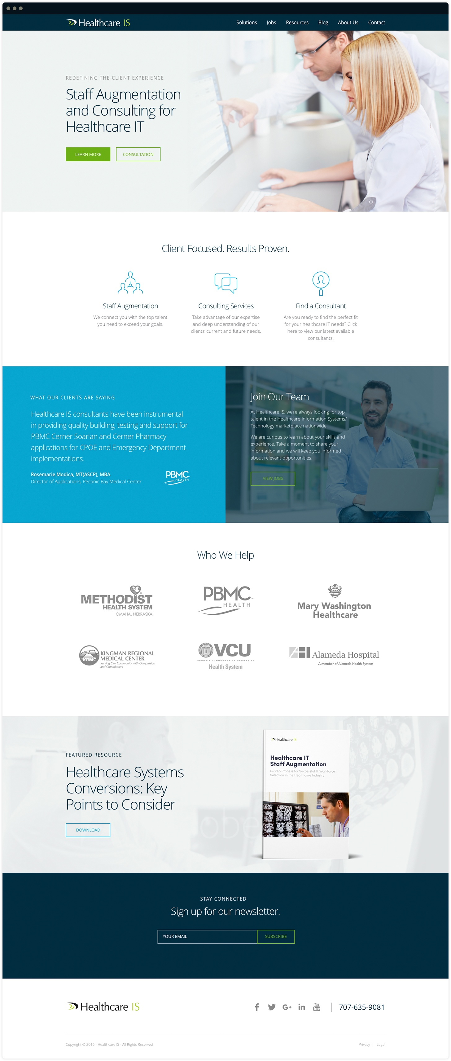 Healthcare IS Homepage Design by Salted Stone