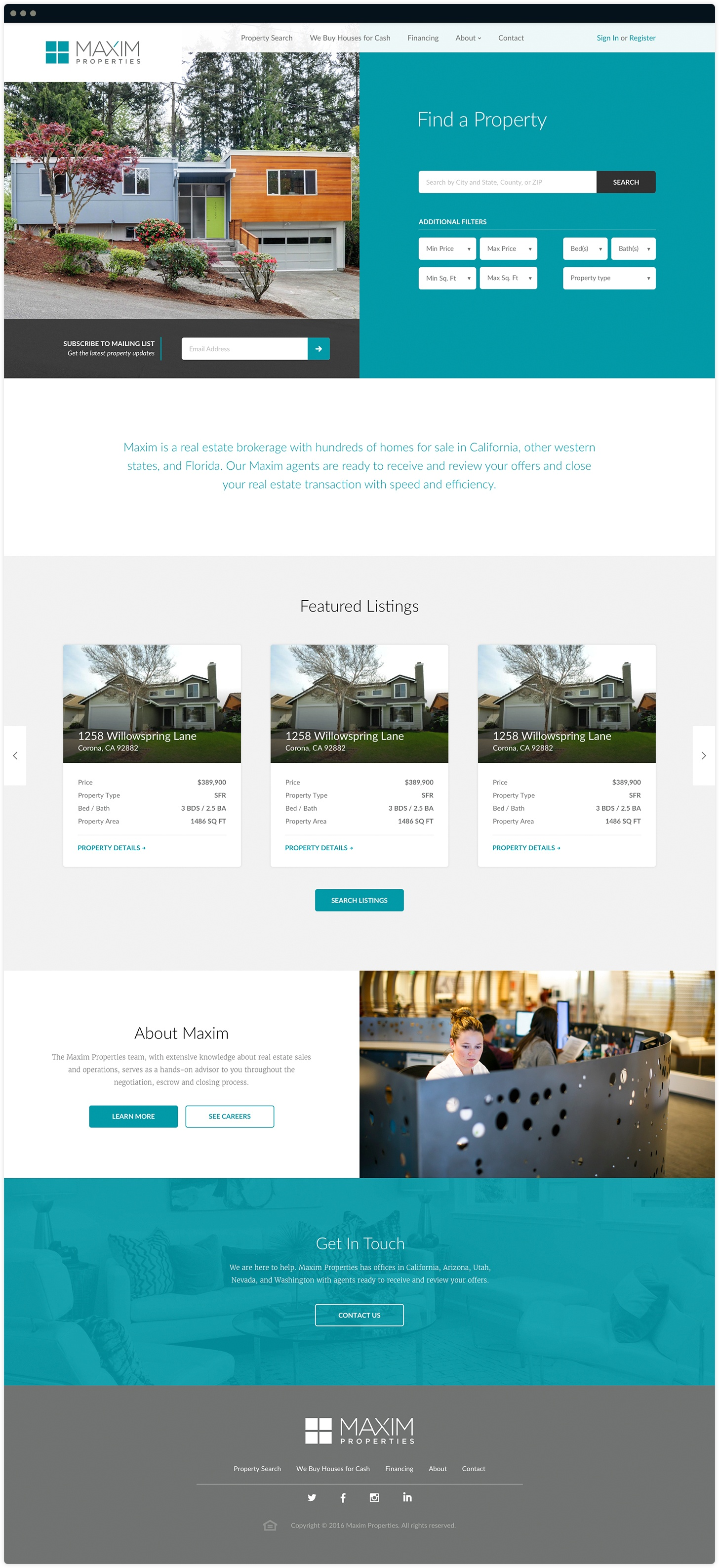 Maxim Properties Homepage Design by Salted Stone