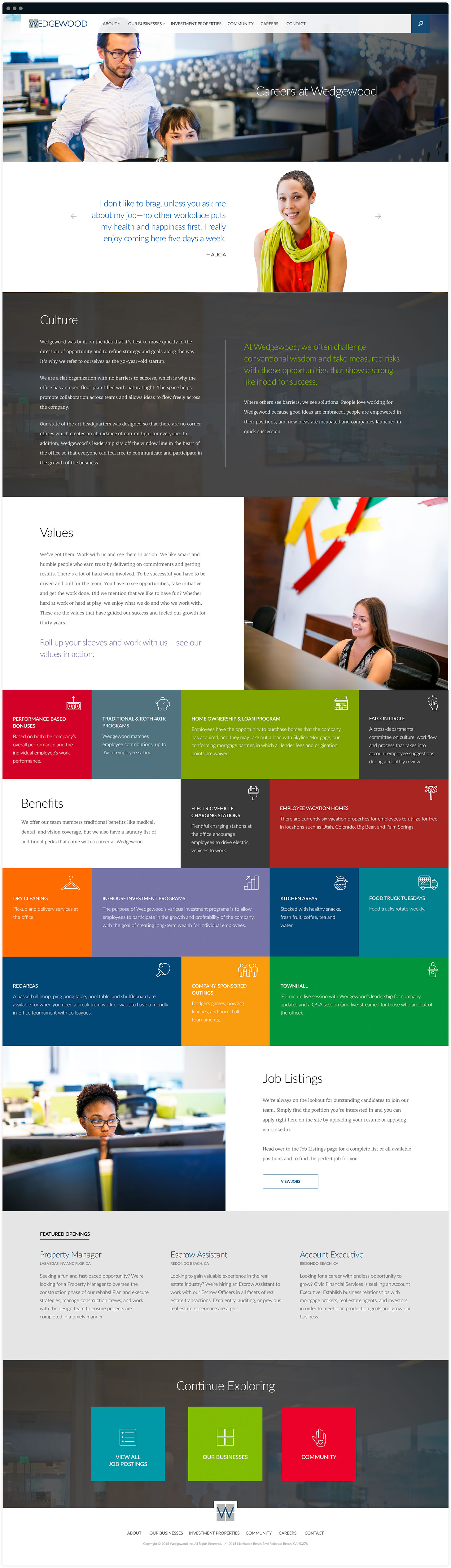 Wedgewood Careers Page Design by Salted Stone